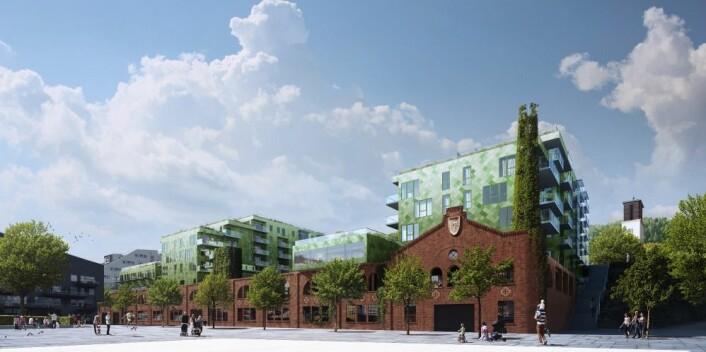 Bildet viser hvordan arkitektene har planlagt bruk av industribygningen som ligger inntil ' Fløttmannsplassen'. Anleggsarbeidet var i full gang høsten 2017. Illustrasjon: TAG Arkitekter