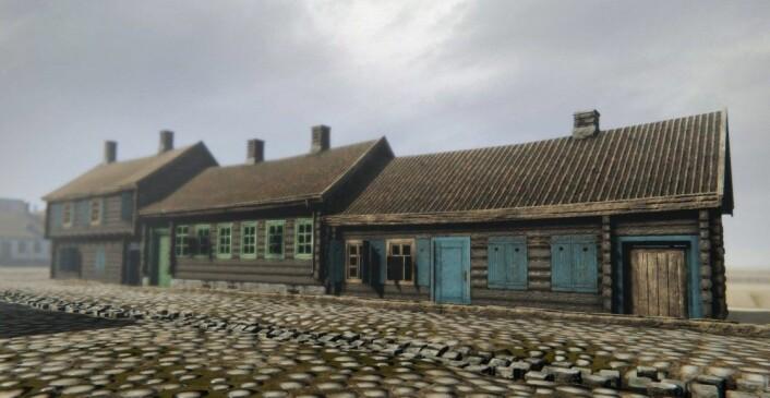 I den delen av Fred. Olsens gate som prosjektet Oslo havn 1798 gjenskaper var byggene med adressene 11, 13 og 15 de med lavest verdi. Disse var laftet, og trolig bygget sent på 1600-tallet. De stod rett over gaten for hovedinngangen til Paleet. (Modell laget av Mats Jørgensen)