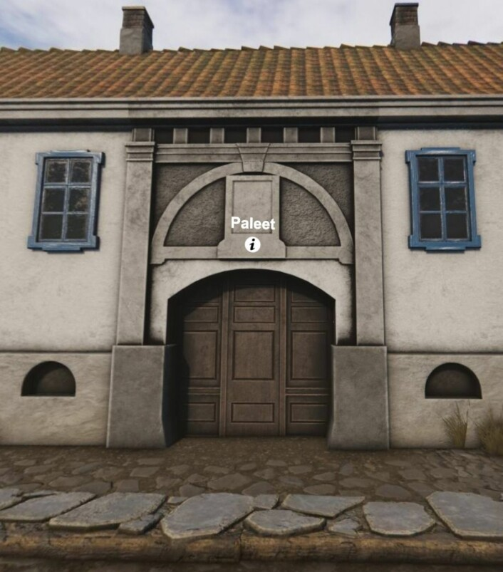 Hovedporten til Palèt, eiendommen til Ankerfamilien. Hentet fra 3d-modellen Oslo havn 1798 (Modell av Mats Jørgensen)