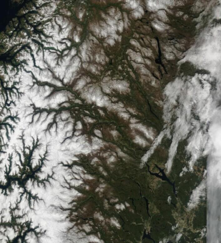 """Dette må man vel kalle """"godkjent 17.mai-vær""""? Og fortsatt mye snø i høyfjellet. (Bilde: NASA Terra MODIS)"""