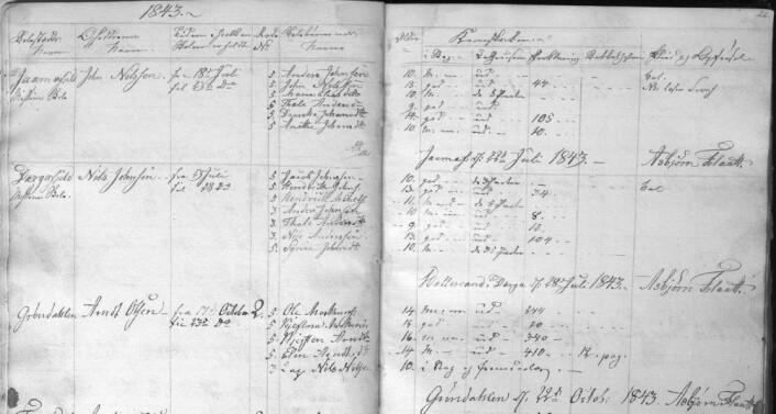 Utsnitt fra skoleprotokollen for Østre Namsealmindingene fra 1843. Skolen var omgangsskole. De to første stedene var samiske heimer i <em>Jaamafjeld</em> og <em>Dærgafjeld</em>. Da het det <em>Missions Skole</em>. På det tredje stedet, den norske heimen <em>Grøndahlen</em>, var det snakk om almueskole. Også der var det med en samisk elev, men da skrevet med lap foran navnet. (Foto: Næjla Joma)
