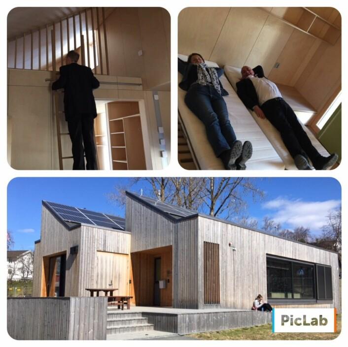 """Delegasjonen var flinke til å prøve ut alle muligheter. På besøk i ZEN-huset fikk de først høre alt om Forskningssenter for Miljøvennlig Energi - Zero Emission Neighbourhoods. Deretter prøve å """"leve"""" litt i ZEB-huset. Imponert var de, over skandinavisk design og klimavennlige hus. Foto: Hege Tunstad/NTNU Energi"""