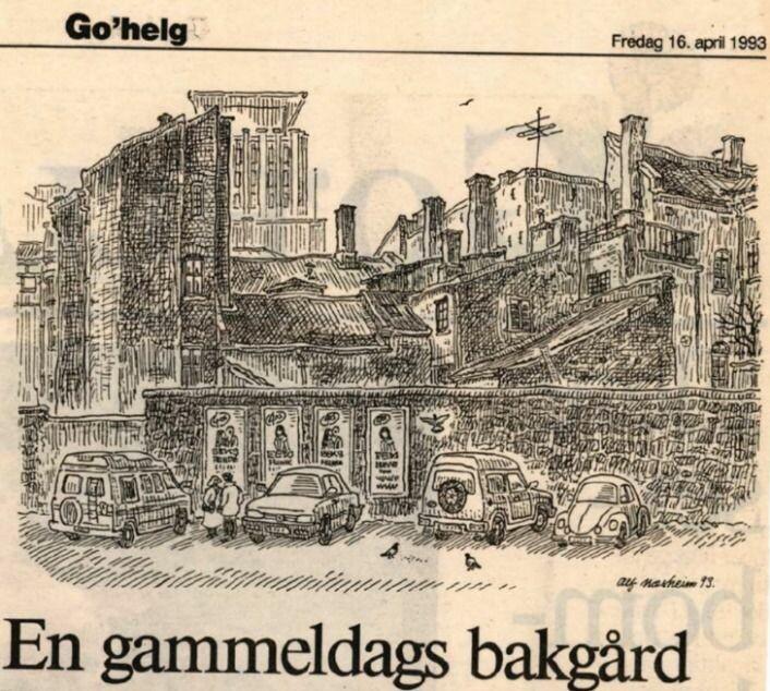 Tegning av Alf Næsheim med tittelen En gammeldags bakgård. (Faksimile fra Aftenposten, 16.april 1993)