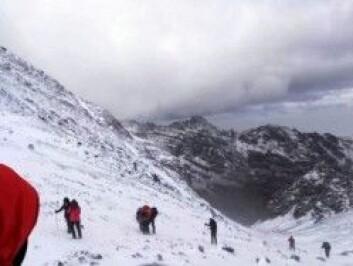 På vei mot toppen er sikten minimal og snøen pisker i ansiktet. Dette minner mest om storm på påskefjellet. (Foto: Privat)