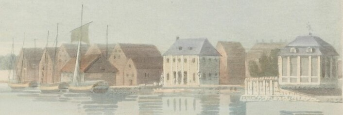 Utsnitt av Edys bilde av Bjørvika ca 1800. Eier: Nasjonalmuseet
