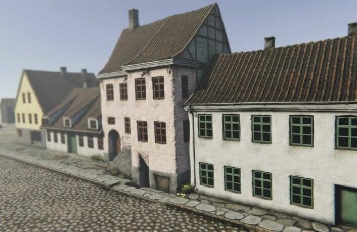 Utsikt mot Rådhusgata 1, Fred Olsens gate 1 og 3. Modell laget av Mats Jørgensen
