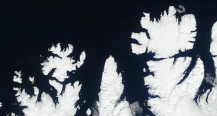 Finnmark sett fra NASA-satellitt 5. mai. (Bilde: NASA Terra MODIS)