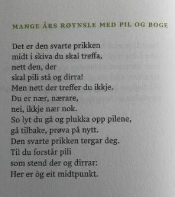 Diktet «Mange års røynsle med pil og boge» av Olav H. Hauge. Faksimilie frå Olav H. Hauges vakraste dikt, utgitt på Samlaget i 2014.
