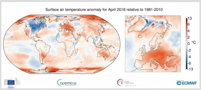 April var kald i Nord-Amerika og varm i Europa, mens La Nina sang på siste verset. (Bilde: Copernicus C3S / ECMWF)