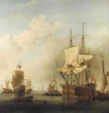 Dansk tømmerskip gjør seg klar (Av: Samuel Scott)
