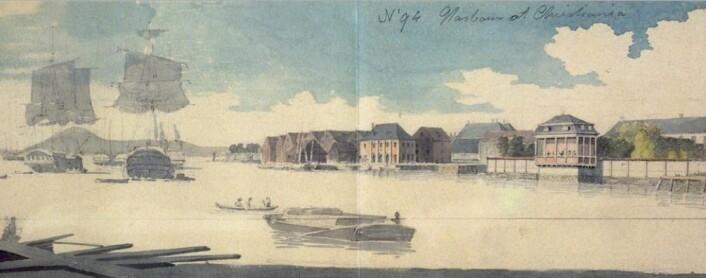 Bordpram sees i forkant av utsnittet fra Edys skisse av Bjørvika ca 1800 (Eier: Nasjonalmuseet)