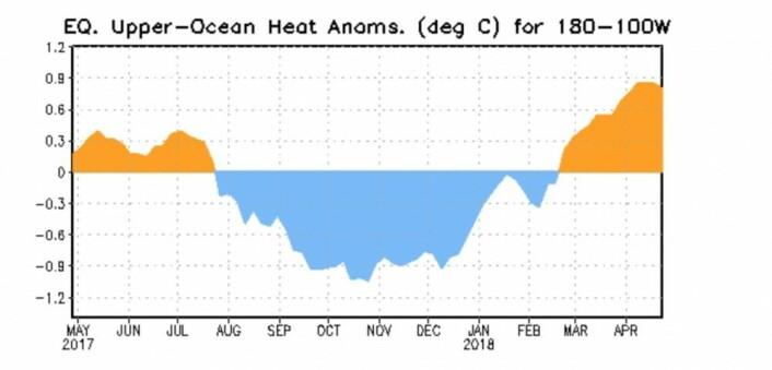 Kelvinbølger kommer og kelvinbølger går i Stillehavet. Denne er i ferd med å passere toppen. (Bilde: NOAA)
