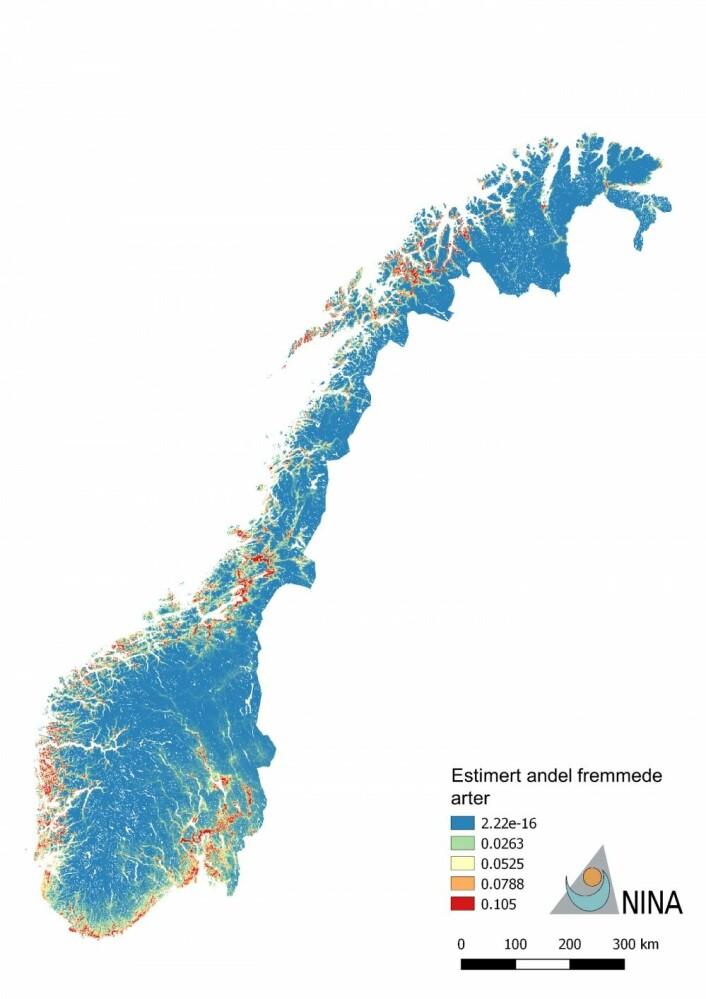 Kart som viser hvor i landet fremmede plantearter er vanligst. Områder markert med rødt har størst konsentrasjon av fremmede arter. Antall fremmede arter er angitt som andel av alle registrerte plantearter for å korrigere for ujevn registreringsinnsats. Kartet er hentet fra NINA-rapport 1393.
