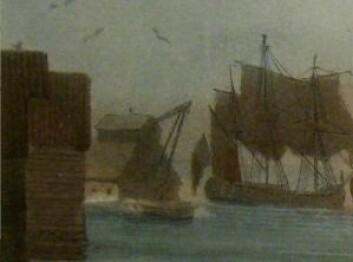 På utsnittet av J.W. Edys bilde ser det ut til at et skip er i ferd med å løftes. (Av J.W. Edy. Eier: Oslo museum)
