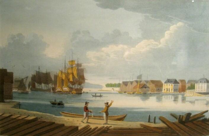Skipskrana sees til venstre i bildet av Oslo havn fra ca 1800. (Av J.W. Edy. Eier: Oslo museum)