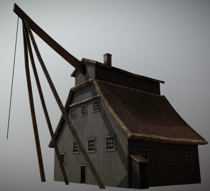 Skipskrana i Oslo havn på fra 1706 og til 1877. (Modell laget av Mats Jørgensen)