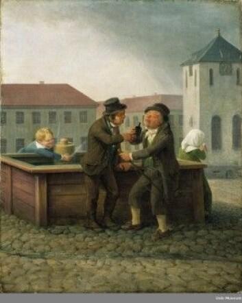 Kusker ved brønnen på Stortorvet ca 1820 av Johannes Flintoe. (Eier: Oslo museum)