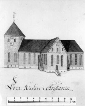 Oslo domkirke tegnet av Gerhard Schøning i 1775. (Eier: Norsk folkemuseum)