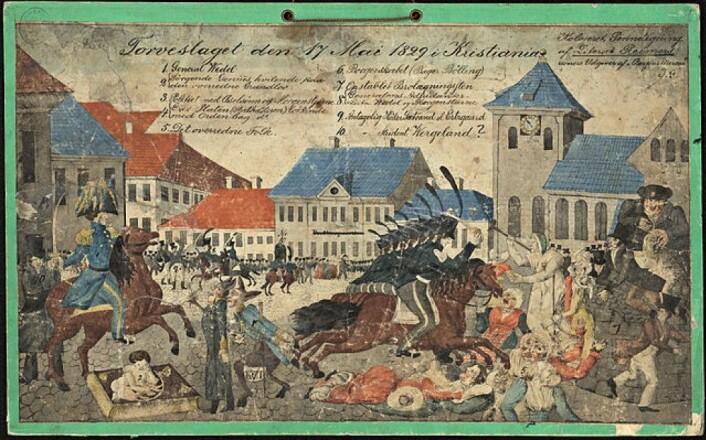 Torvslaget den 17. mai 1829 i Kristiania. av Hans Reimer. (Eier: Nasjonalbiblioteket)