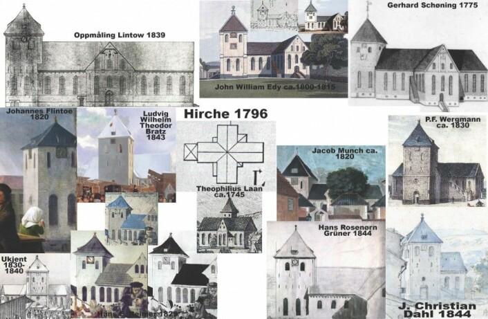 Arbeidsnotater for rekonstruksjon av Domkirken i Oslo ca 1798. (Av: Anders Hereng Hansen)