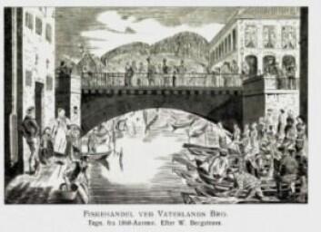Det ble også solgt fisk på noen andre steder omkring i byen bl.a. Vaterland og Pipperviken. Handelen kunne gå livlig for seg. (Bildet er hentet fra Collet, Gamle Christiania-billeder)
