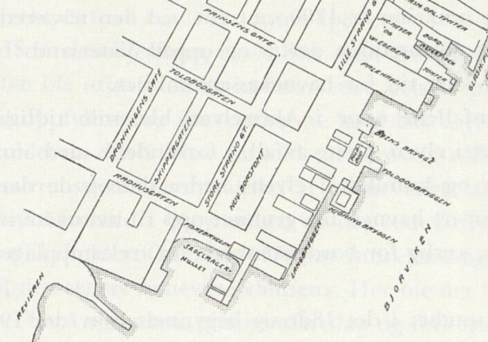 Utsnitt av skisse av Hirsch sitt kart fra 1798. Fra: Kjelstrups Oslo havns historie (se litteraturliste)
