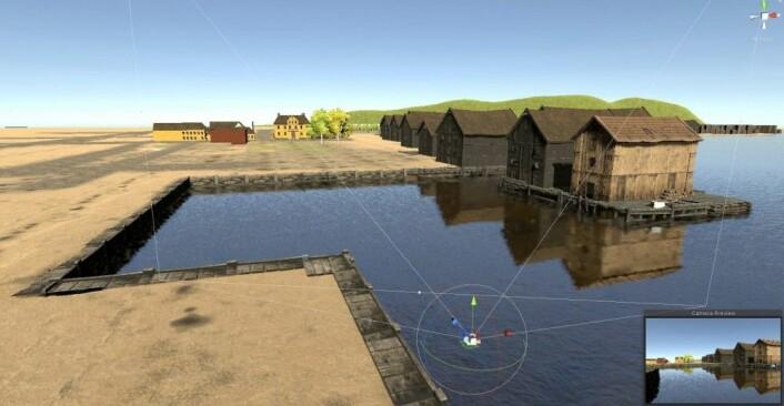 Screen shot fra pågående arbeid med 3d modell av Oslo havn i 1798- dette er mot Salmakerhølet (Design og foto: Mats Jørgensen)
