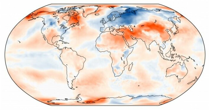 Mars 2018 var kald i Europa, men varm globalt. (Bilde: C3S/ECMWF)