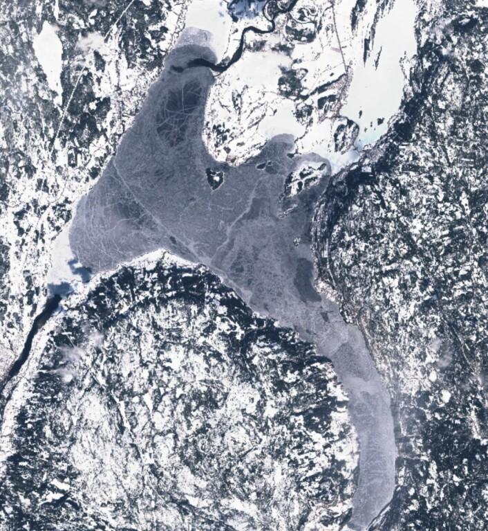 Tyrifjorden sett fra rommet den 6. april. (Bilde: Copernicus Sentinel-2 data)