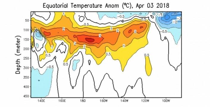 Fortsatt mye varmt vann under overflaten i Stillehavet. (Bilde: NOAA)