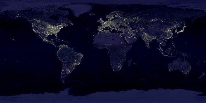 «Earth's City Lights», fra NASAs Visible Earth Catalog. Data fra 1994-1995, visualisering laget i 2000.