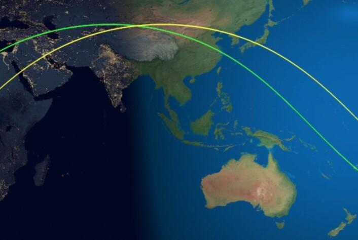 Den gule kurven viser det siste omløpet for Tiangong-1. Den kinesiske romstasjonen falt ned litt til høyre for der bildet slutter. (Bilde: Aerospace Corp.)