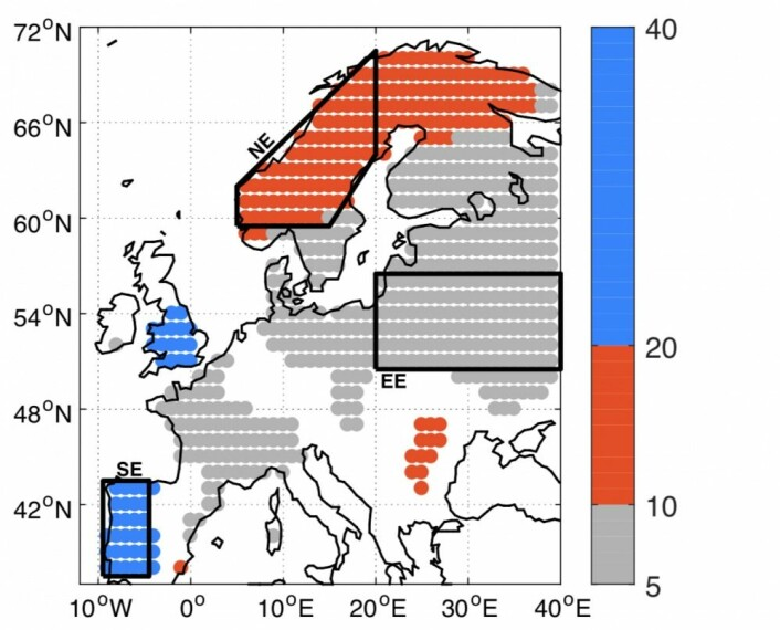 Her ser man de dominerende tidsskalaene (år) i Europa for lufttemperaturen ved overflaten i den kalde årstiden. (Fra Årthun et al, Geophysical Research Letters, mars 2018).