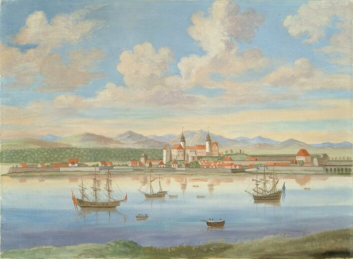 Oslo sett fra Hovedøya. Sent 1700-tall. (Eier: Oslo museum Westergaaard, H.W.)