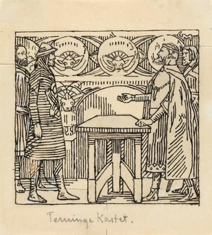 """Kongene kaster terninger om ei bygd på Hisingen. """"Olav den helliges saga"""" i Snorre Sturlason, Kongesagaer, Kristiania 1899. Illustrasjon, Nasjonalmuseet"""