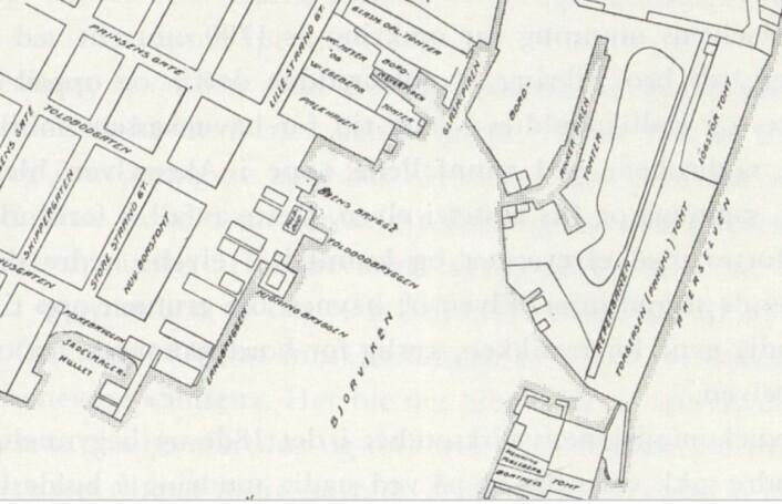 """Kartutsnittet er hentet fra Y. Kjelstrups bok """"Oslo havns historie"""" s. 39, men baserer seg på et kartutsnitt av Patroclus Hirsch fra 1794 som er tilgjengelig på Oslo byarkiv Kjelstrup"""