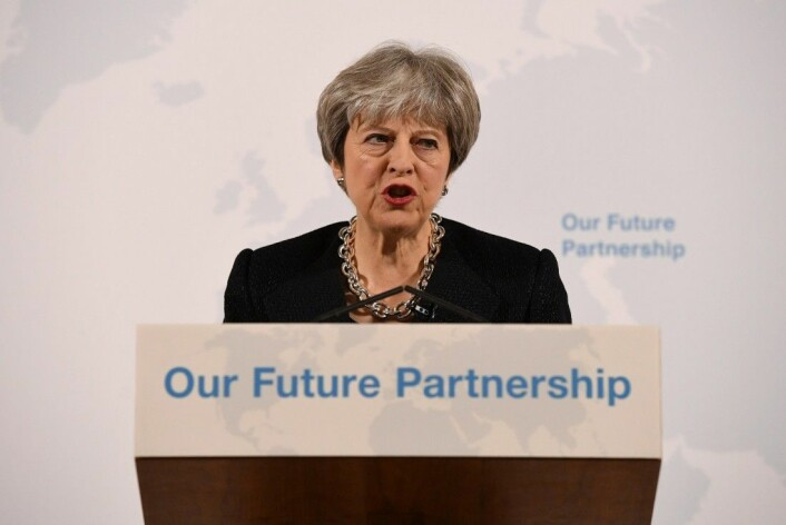 Statsminister Theresa May holdt en stor Brexit-tale 2. mars. Mange eksperter mener det er den mest realistiske så langt.<em>(Foto:<strong></strong>REUTERS/Leon Neal/Pool / NTB scanpix)</em>