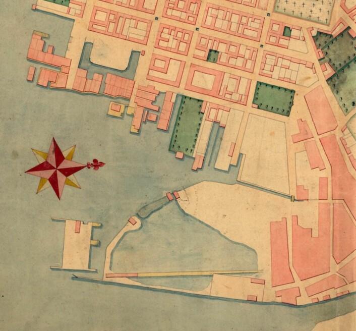 Utsnittet av kart fra Amtskartssamlingen, Kristiania amt nr. 22. Hos kartverket er dette datert 1774, men Oslohistoriker Lars Rode mener rett år trolig er tidig på 1790-tallet. Kartet vise tydelig bassenget der Børshaven i dag ligger og kanalen inn til det. Kartverket