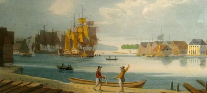 """Utsnitt av J.W. Edys """"skisse av Christiania havn"""" fra omtrent 1800. På denne tiden lå store skipene fortøyd ute i havnen. J.W. Edy"""