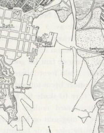 """Kartutsnittet er hentet fra Y. Kjelstrups bok """"Oslo havns historie"""" s. 32 og viser Oslo havn i 1794, med kailinjene fra 1935 tegnet inn. Kartet baserer seg på et kartutsnitt av Patroclus Hirsch fra 1794 som er bevart på Oslo byarkiv. Y. Kjelstrup"""