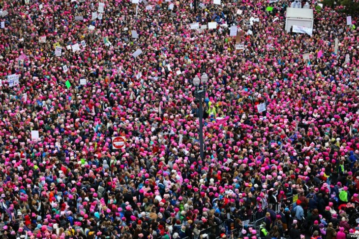 Originale Pussyhats i Washington. (Foto: Brian Allen, Voice of America)