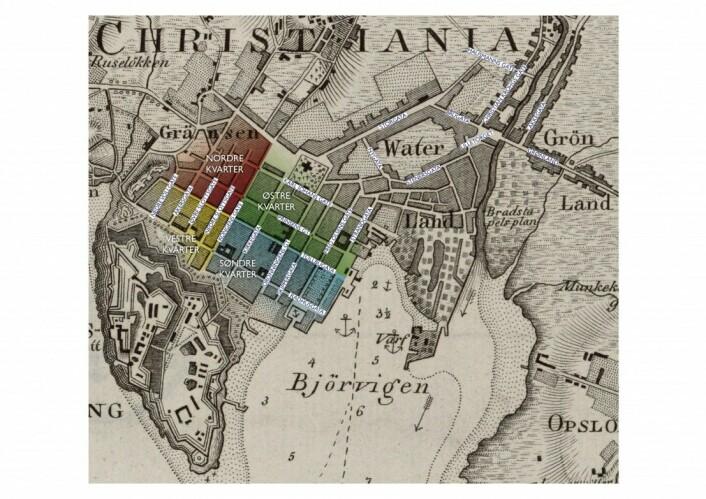 Christiania 1:20000, bikart til Kart over Agershuus Amt, Ramm og Munthe, 1827. (Kvartalene i kvadraturen merket med farver)