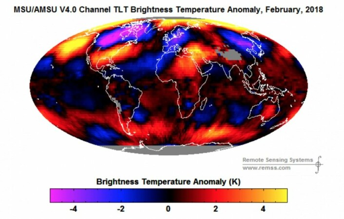 Satellittmålt februar-temperaturanomali i nedre troposfære var det syvende varmeste som er registrert, i følge RSS. Her ser vi temperaturfordelingen. (Bilde: RSS)