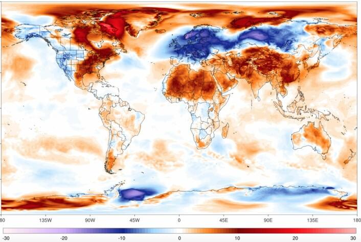 """Temperaturkart for 28. feb. Fargene viser avviket fra """"normalen"""" på den datoen i årene 1979-2000. Som vanlig er det mer rødt enn blått i bildet. (Bilde: Univ. of Maine)"""
