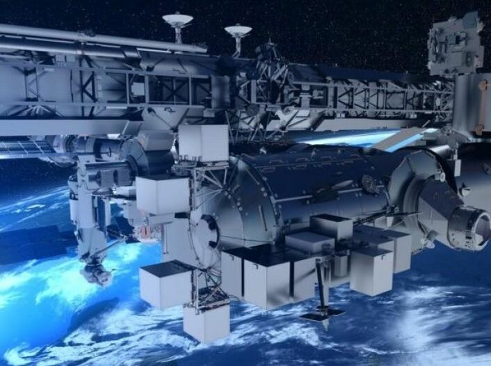 Bartolomeo skal sitte utenpå Columbus-laboratoriet og har plass til opp til 11 eksperimenter (grå bokser) for private aktører. Airbus