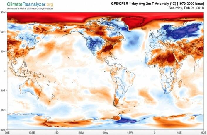 Store kontraster i temperaturkartet (avvik fra gjennomsnittet for perioden 1979-2000). (Bilde: Univ. of Maine)