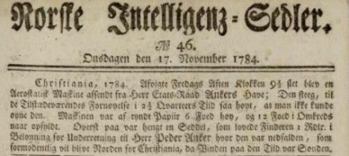 Referat fra luftballongoppsending. Norske Inteligenssedler 17.11.1784