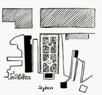 Skisse av haven Fra: Paléet i Oslo : constitutionsværkets vugge, s.97