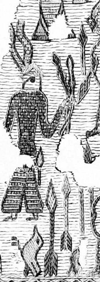 Detalj av et fragment fra billedveven funnet i Oseberggraven som viser en figur med et hodeplagg med en slags horn. Tegnet av Sofie Krafft i 1916. Kulturhistorisk museum, UiO