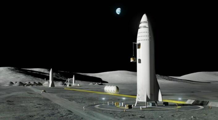 Den vellykkede oppskytningen av Falcon Heavy 6. februar har, ifølge Elon Musk, økt troen på SpaceXs planer om den virkelig store BFR, her illustrert på Månens overflate. (Illustrasjon: SpaceX, fra video av presentasjon på den internasjonale romkongressen i Australia i 2017.)